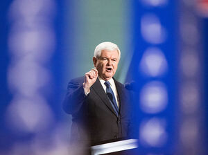 Former Speaker of the House Newt Gingrich delivers a speech during the Republican National Convention on July 20, 2016 in Cleveland.