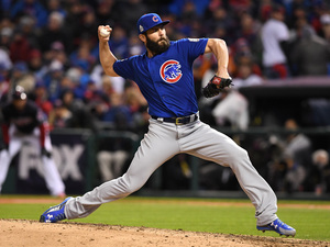 The Chicago Cubs' starting pitcher Jake Arrieta dominated the Cleveland Indians for much of Game 2 of the World Series in Cleveland Wednesday.
