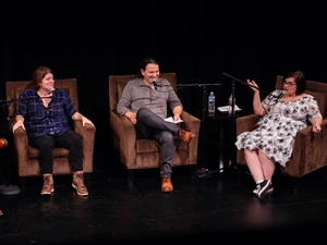 Glen Weldon, Mallory Ortberg, Stephen Thompson, and Linda Holmes on stage at the Marines' Memorial Theatre in San Francisco, CA on Friday, October 21st.