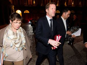 Wallonia's premier, Paul Magnette, (center) leaves Tuesday after talks at Belgium's Foreign Ministry on the trade agreement between the European Union and Canada. All 29 governments involved support the deal, which has been seven years in the making, but Wallonia's opposition is blocking the deal. A signing ceremony had been set for Thursday.