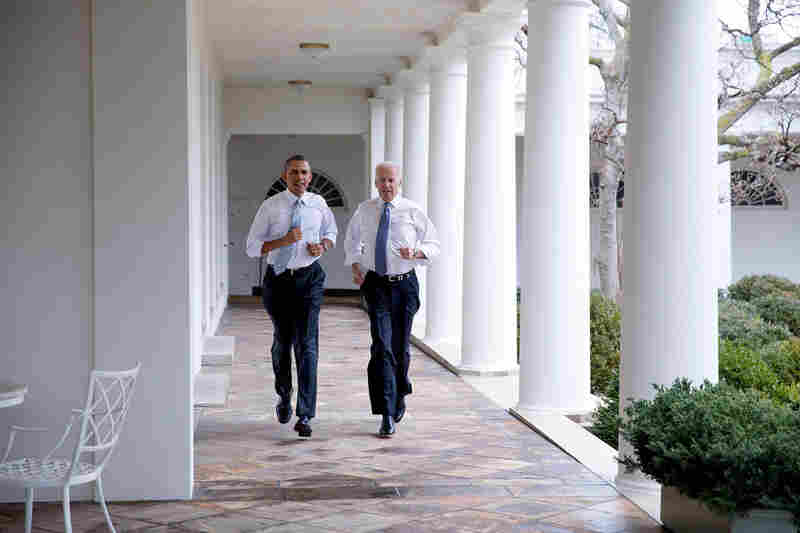 "President Obama and Vice President Biden participate in a ""Let's Move!"" video taping on the Colonnade of the White House in February 2014."
