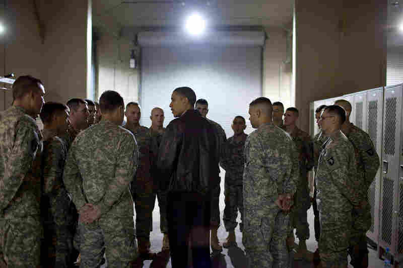 President Obama meets with a platoon on Dec. 3, 2010 at Bagram Airfield in Afghanistan who had just lost six members, killed unsuspectedly by an Afghan who had worked alongside them.