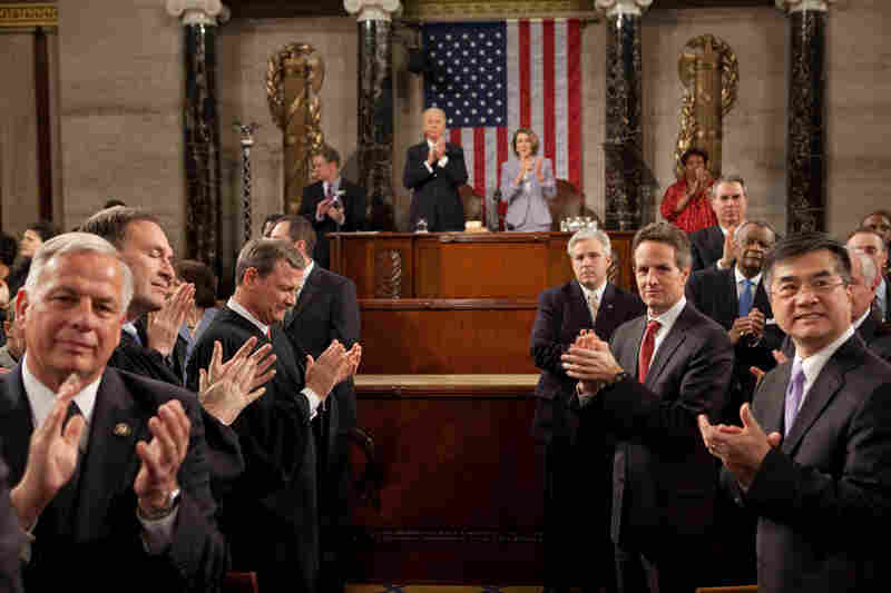 """As the President entered the House chamber to give his State of the Union address, I turned around to see his pathway to the podium. It reminded me of a scene from the movie The American President,"" Pete Souza wrote about this photo from Obama's 2010 State of the Union address on The White House Flickr page."