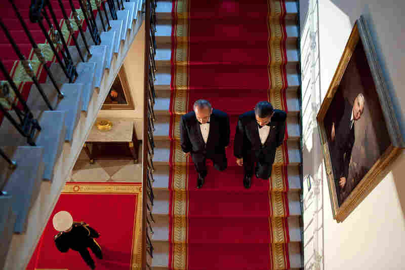 """I had recently watched an old National Geographic documentary film on the White House and adapted the idea of shooting this angle from a scene in the film as the President and President Felipe Calderon of Mexico descended the Grand Staircase before a State Dinner at the White House,"" Pete Souza wrote about this image from May 2010 on The White House Flickr page."
