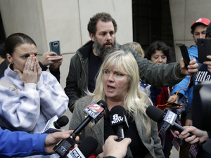 Defendant Shawna Cox speaks outside federal court in Portland, Ore., on Thursday after she and six others were acquitted of charges related to the occupation of the Malheur National Wildlife Refuge.