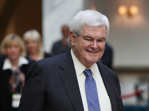 Former House Speaker Newt Gingrich arrives on Wednesday to watch Republican presidential candidate Donald Trump during the grand opening of the Trump International Hotel in the renovated Old Post Office Building in Washington, D.C.