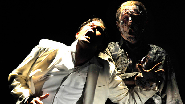 Don Giovanni (Gerald Finley, left) is pulled down to hell by the ghost of the Commendatore (Alastair Mills) in a Glyndebourne production of Mozart