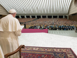 Pope Francis speaks to Lutheran pilgrims at the Vatican on Oct. 13. The pope is traveling to Lund, Sweden — where the Lutheran World Federation was founded 70 years ago — on Monday to take part in the year-long commemoration of the Protestant Reformation, launched by Martin Luther in 1517.