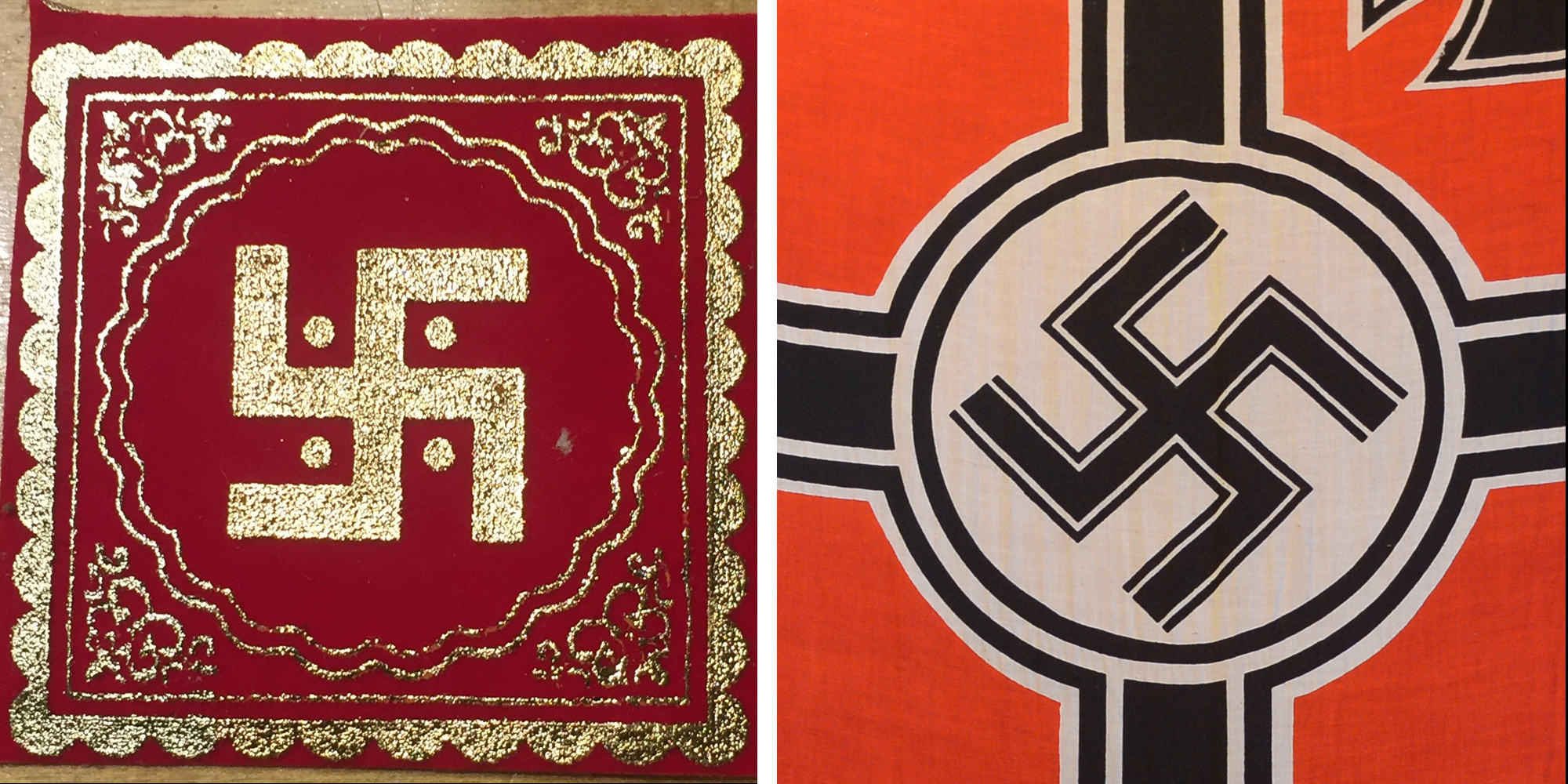 (Left) The Hindu swastika. (Right) A Nazi flag hangs in a Nazi-themed cafe in Bandung, Indonesia in 2013. Courtesy of Bela Shah and Adek Berry/AFP/Getty Images