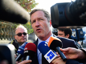 Wallonia leader Paul Magnette speaks to the media Wednesday prior to a media with Belgium's leaders. Wallonia objected to parts of a major European Union-Canada trade deal that was seven years in the making. But Magnette said Thursday he was willing accept the revised terms.