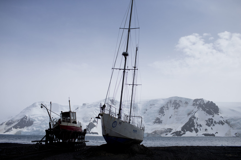 Boats sit on the beach at Bahia Almirantazgo in Antarctica. An agreement was reached on Friday to create the world's largest marine protected area in the ocean next to the frozen continent. (Natacha Pisarenko/AP)