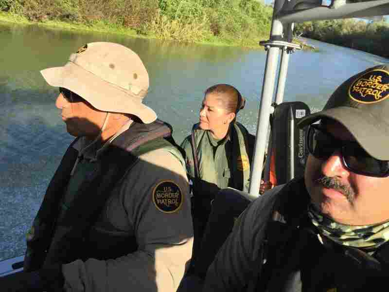 Border Patrol Agents Omar Puente, Marlene Castro and Guillermo Mata on patrol on the Rio Grande near McAllen, Texas.