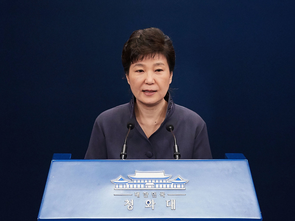 In this handout photo released by the South Korean Presidential Blue House, South Korea's President Park Geun-Hye offers a public apology at the at the presidential blue house on October 25. (Handout/Getty Images)