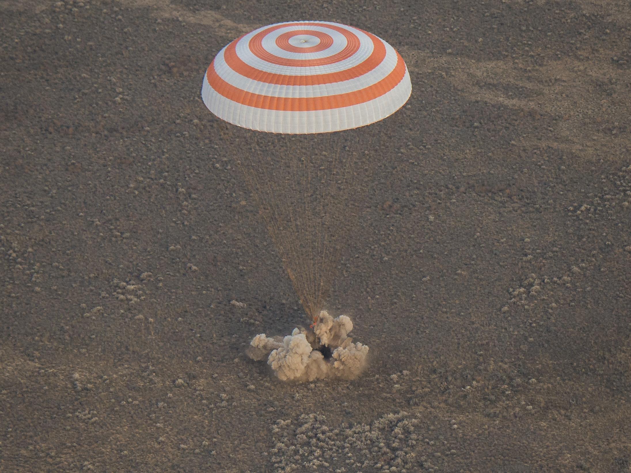 The Soyuz MS-01 spacecraft lands in Kazakhstan on Sunday. Bill Ingalls/NASA.