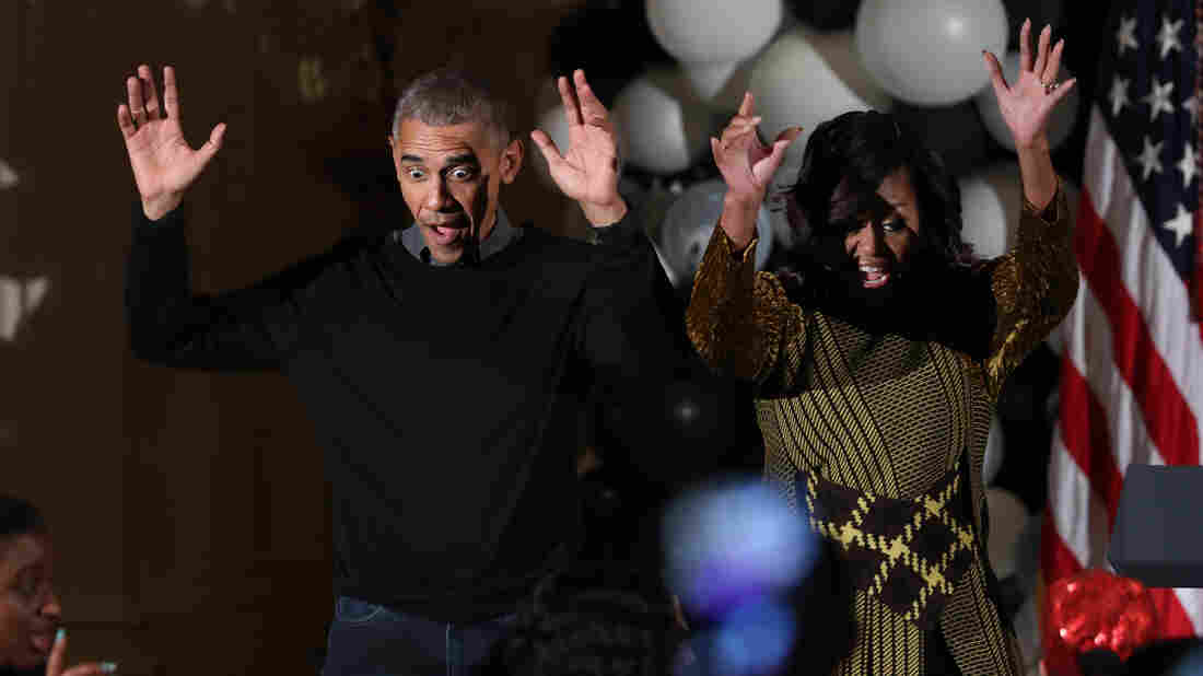 "President Obama and the first lady Michelle Obama danced to Michael Jackson's ""Thriller"" as they welcomed children to the White House."