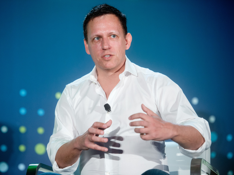 "While much of Silicon Valley has supported Hillary Clinton, billionaire investor Peter Thiel is backing Donald Trump. ""We're voting for Trump because we judge the leadership of our country to have failed,"" Thiel says. (Bloomberg via Getty Images)"