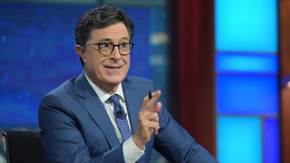 "For Stephen Colbert, taking over as host of <em>The Late Show</em> was not a hard decision. ""I love a live audience,"" he says. ""I love the grind of every day and I love the people I work with."" (Scott Kowalchyk/CBS)"