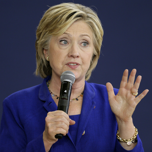 Hillary Clinton speaks during a community forum on health care in Des Moines, Iowa, on Sept. 22, 2015.