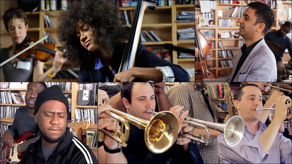 Clockwise from upper left: Esperanza Spalding, Vijay Iyer, The No BS Brass Band, Robert Glasper (NPR )