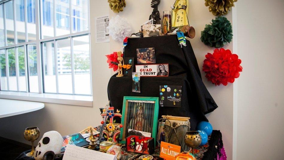 Our Día de los Muertos altar in the Alt.Latino World Headquarters celebrates Prince, David Bowie and many more of the musicians and loved ones we lost this year. (NPR)