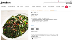 Neiman Marcus Is Selling Frozen Collard Greens For $66 Plus Shipping