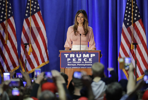 Melania Trump, wife of Republican presidential candidate Donald Trump, spoke at the Main Line Sports Center in Berwyn, Pa. Thursday.