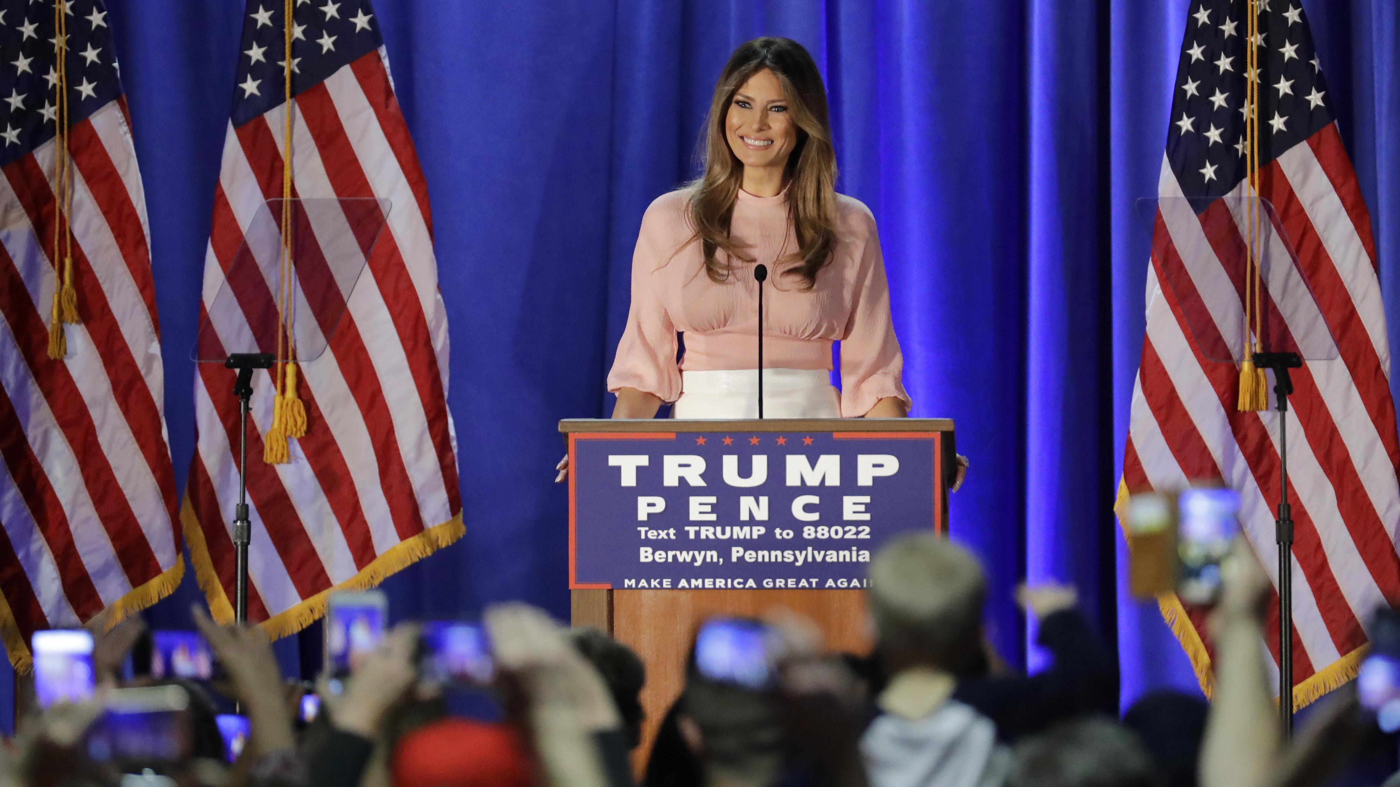 Melania Trump gives rare election speech