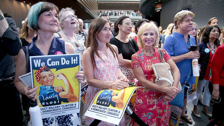 Women attend the EMILY's List Breaking Through 2016 event at the Democratic National Convention in Philadelphia in July. (Paul Zimmerman/Getty Images)