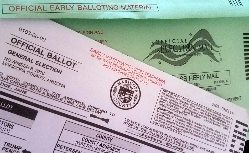 """Democrats argued that the ban on what critics call """"ballot harvesting"""" would suppress the vote, particularly among minorities. (Sky Schaudt/KJZZ)"""