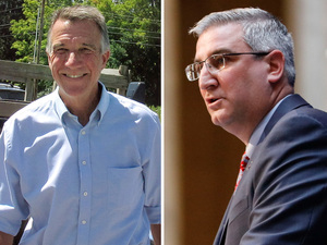 (Left to right) Executive Councilor Chris Sununu, Republican gubernatorial hopeful Lt. Gov. Phil Scott, and Indiana Lt. Gov. Eric Holcomb.