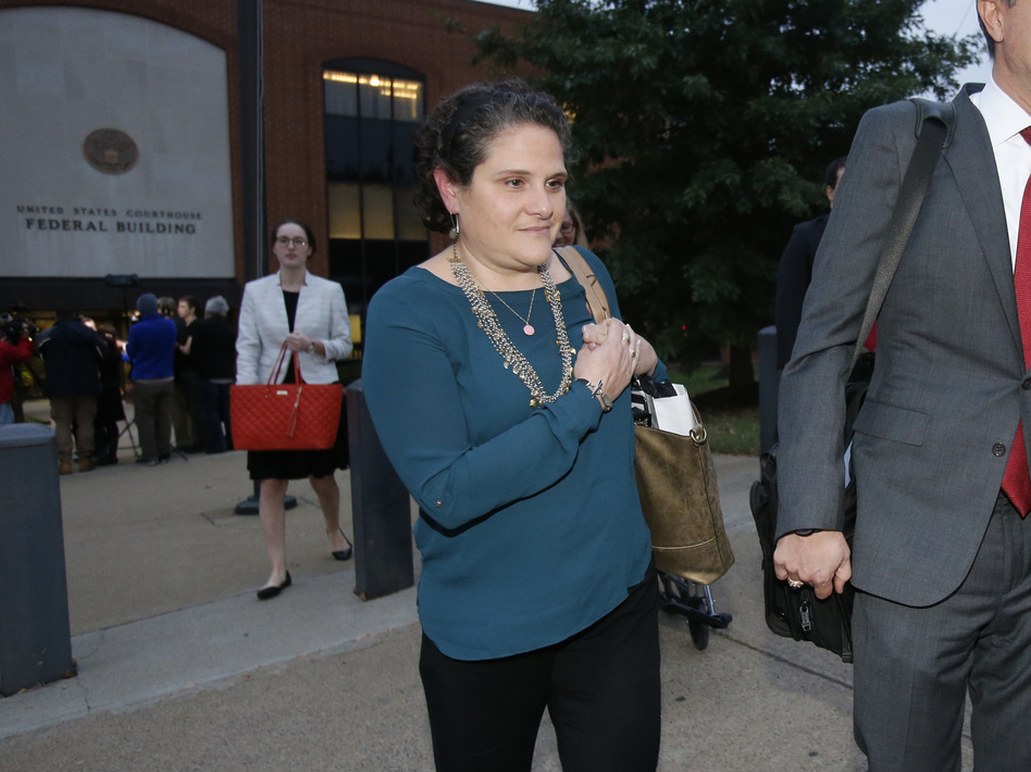 University of Virginia administrator Nicole Eramo  leaves federal court after closing arguments in her defamation lawsuit against Rolling Stone magazine in Charlottesville, Va., last week. (Steve Helber/AP)