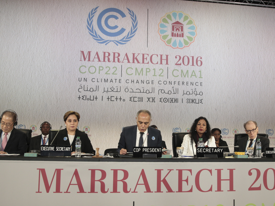 International officials at the opening session of the climate conference in Marrakech. (Mosa'ab Elshamy/AP)