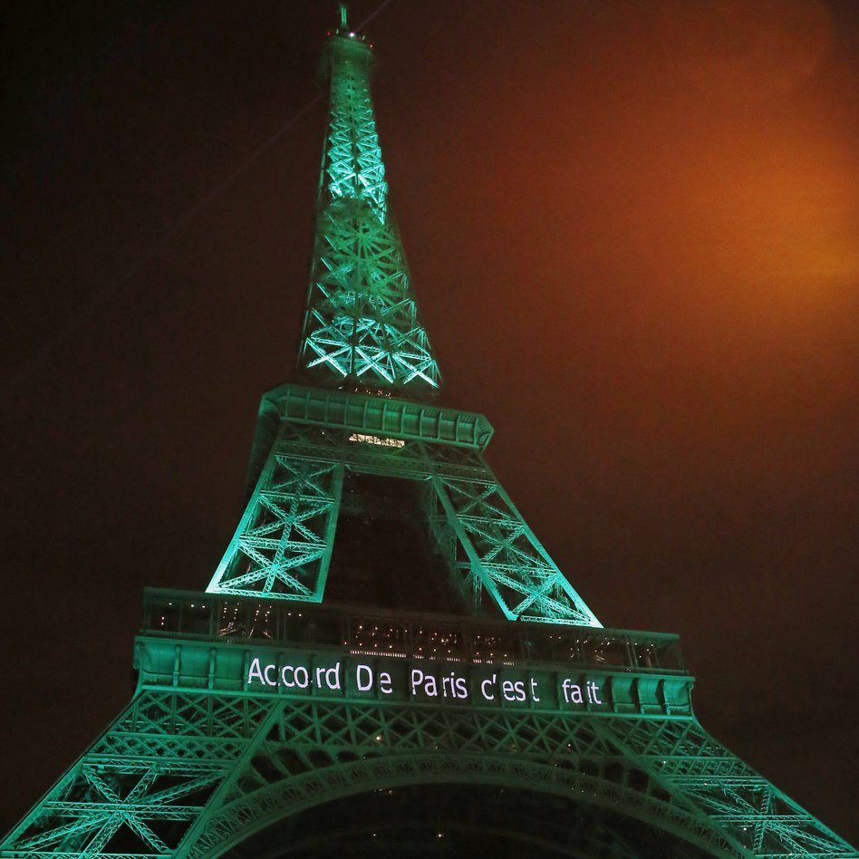 France celebrated a milestone in the Paris climate change agreement last week by lighting up the Eiffel Tower in green. President-elect Donald Trump could pull the U.S. out of the deal. (Michel Euler/AP)