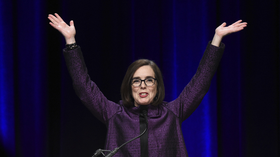 Oregon Gov. Kate Brown speaks to the crowd of supporters after being elected at the convention center in Portland, Ore., on Tuesday. (Steve Dykes/AP)