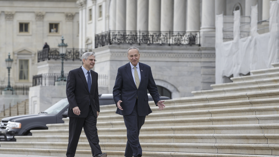 Supreme Court nominee Merrick Garland, left, walks with Sen. Chuck Schumer, D-N.Y., in March at the Capitol in Washington. Schumer is expected to become the new Senate minority leader, but with Donald Trump's election as president, Garland's nomination is done. (J. Scott Applewhite/AP)