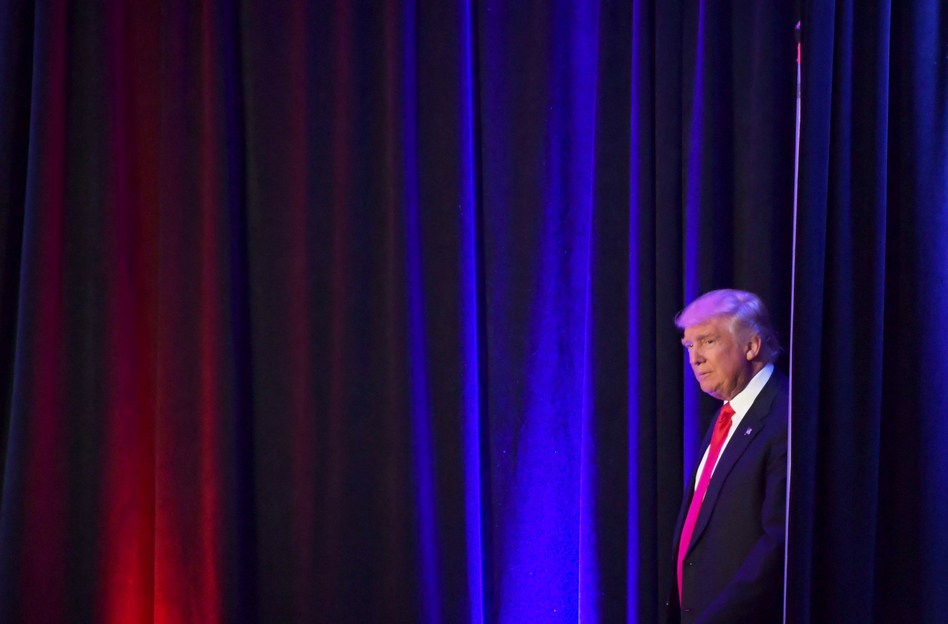 President-elect Donald Trump arrives to speak at the New York Hilton Midtown on election night. (Jim Watson/AFP/Getty Images)