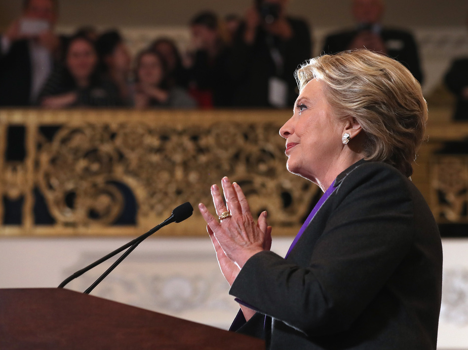 Hillary Clinton concedes the presidential election at the New Yorker Hotel on Wednesday in New York City. (Justin Sullivan/Getty Images)