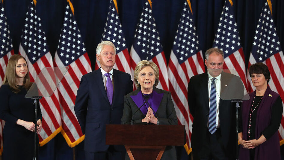 Former Secretary of State Hillary Clinton concedes the presidential election Wednesday morning in New York City. (Justin Sullivan/Getty Images)