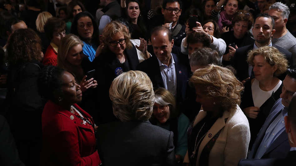 Hillary Clinton greets supporters and members of her staff ahead of her concession speech Wednesday at the New Yorker Hotel in New York City. (Justin Sullivan/Getty Images)