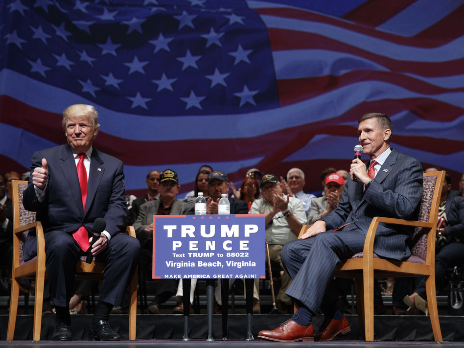 Retired Lt. Gen. Michael Flynn appeared with Donald Trump during a town hall on Sept. 6 in Virginia Beach, Va. The former Defense Intelligence Agency boss is a Trump national security insider. (Evan Vucci/AP)