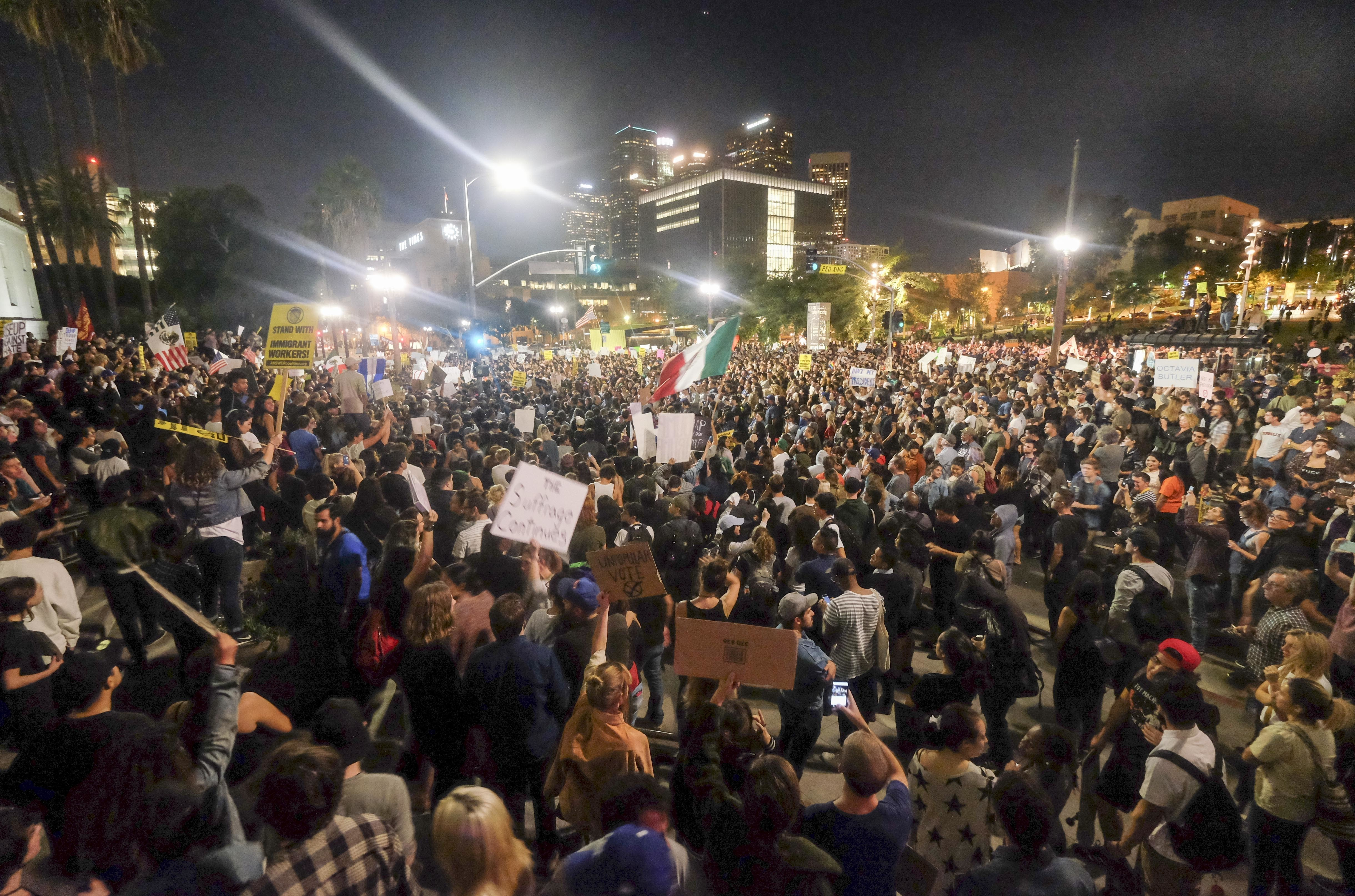 Across The Country, Crowds March In Protest Against Trump's Victory