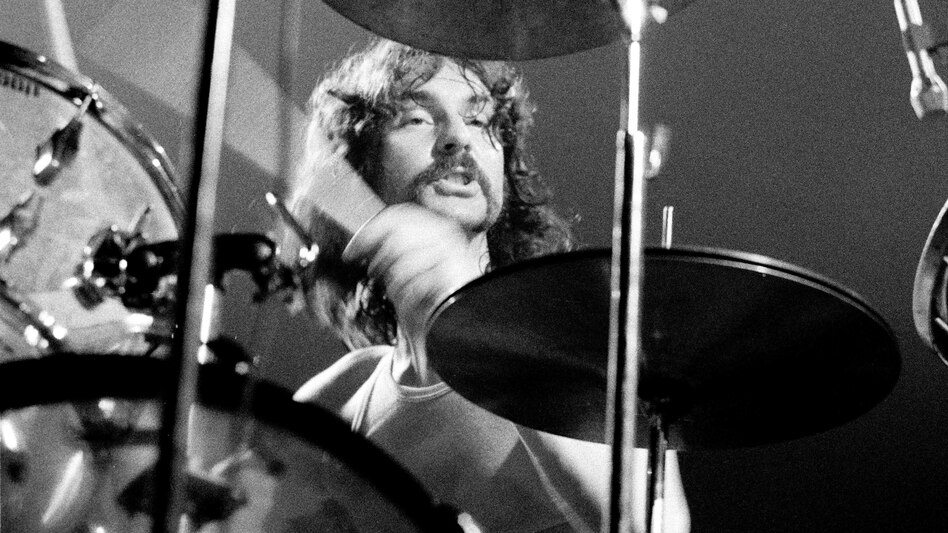 Pink Floyd drummer Nick Mason performs live in Denmark in 1971. (Redferns)
