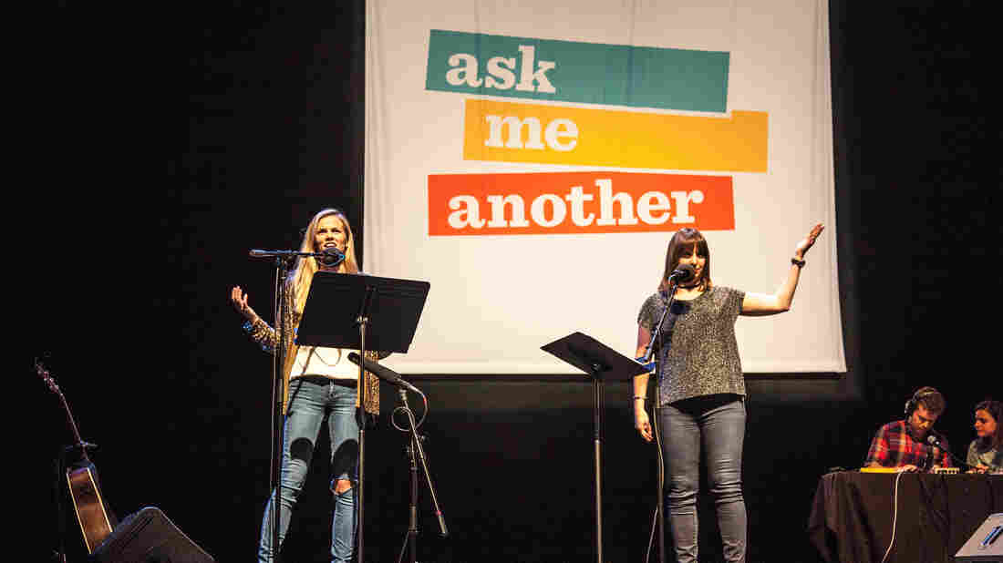 Brooklyn Decker with Ask Me Another host Ophira Eisenberg at the Majestic Theater in Dallas, Texas.