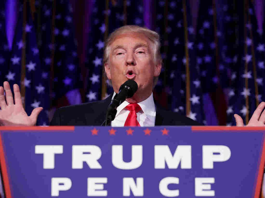 Republican president-elect Donald Trump delivers his acceptance speech.