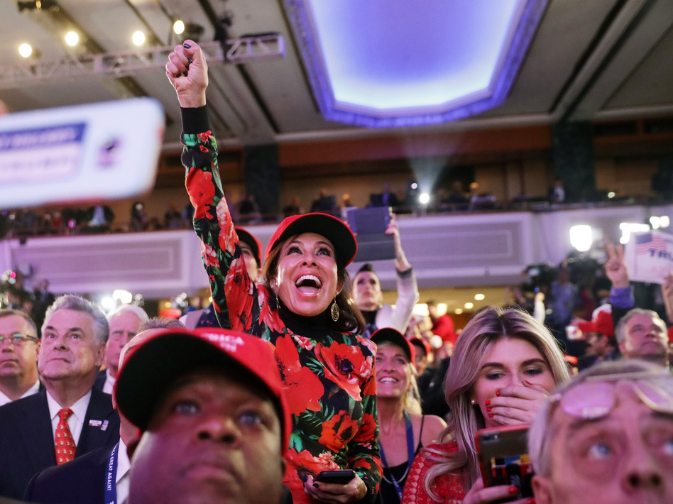 Donald Trump supporters cheer on Tuesday night at the New York Hilton Midtown. (Chip Somodevilla/Getty Images)