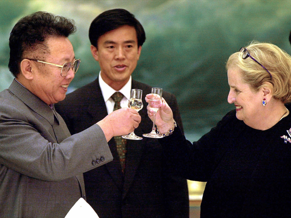Then-Secretary of State Madeleine Albright and North Korean leader Kim Jong Il toast in Pyongyang on Oct. 24, 2000. The U.S. and North Korea signed an agreement six years earlier to curb North Korea's nuclear activities in exchange for aid, but it collapsed in 2002, during the Bush administration. (Chien-Min Chung/AP)