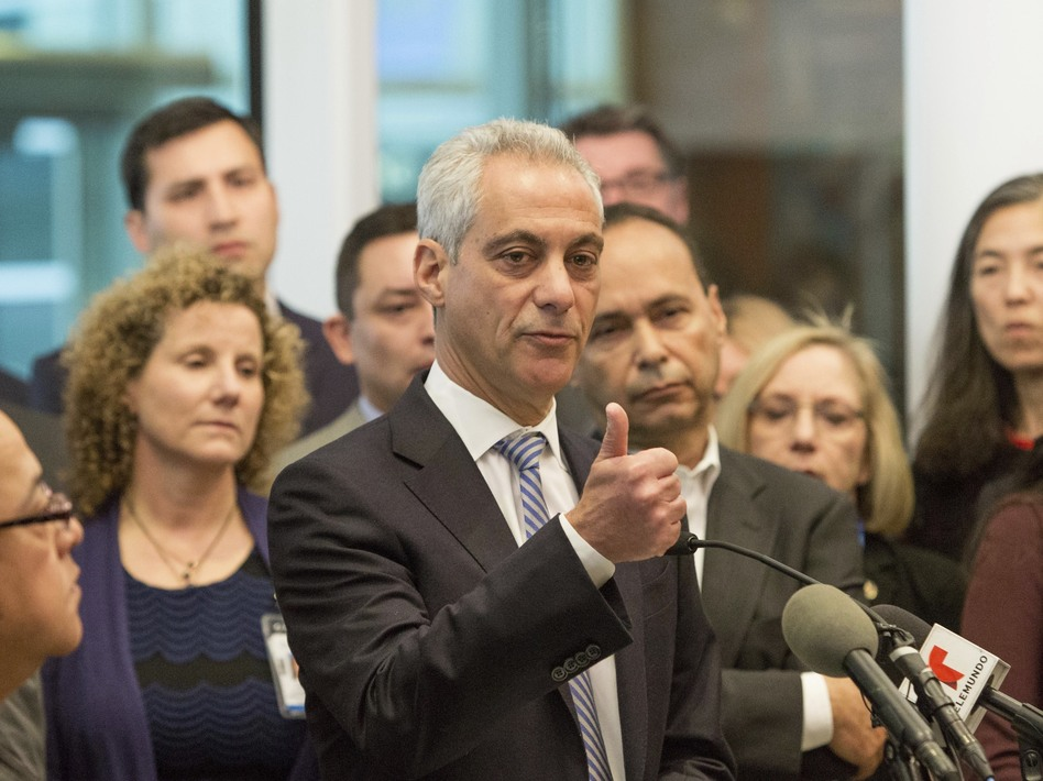 Chicago Mayor Rahm Emanuel speaks at a news conference in Chicago, saying that the outcome of the presidential election will not change Chicago's commitment as a sanctuary city for immigrants. (Teresa Crawford/AP)