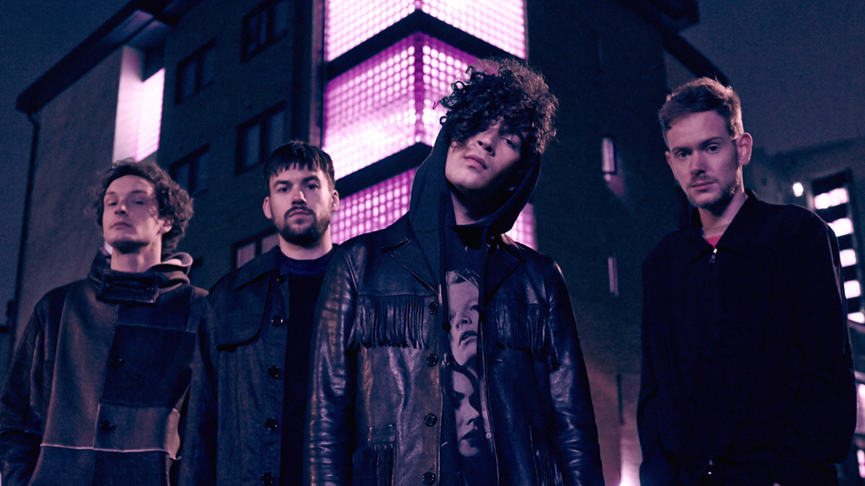 The 1975 is, from left to right, George Daniel, Ross MacDonald, Matty Healy and Adam Hann. (Courtesy of the artist.)