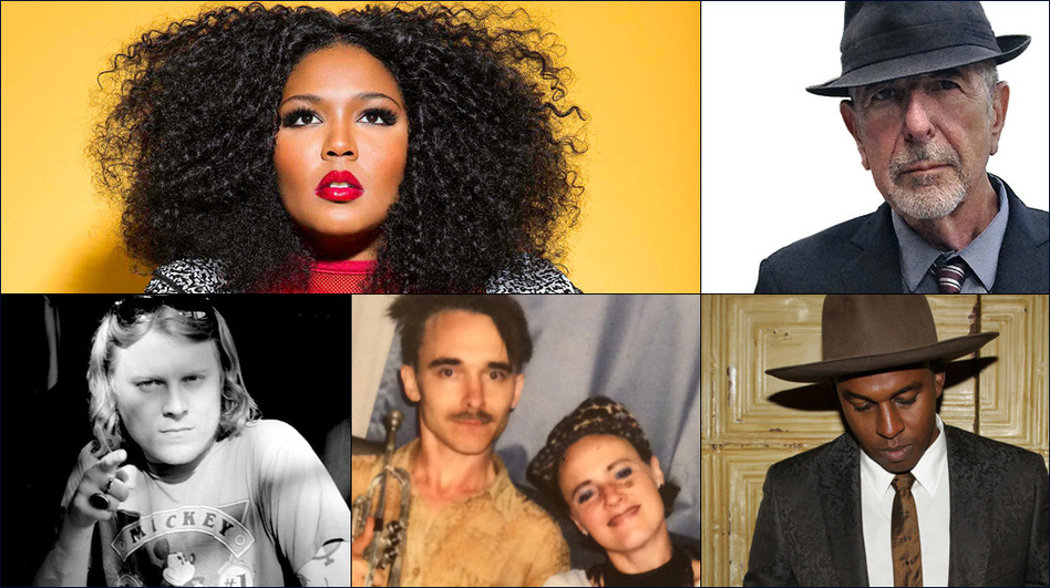 Clockwise from upper left: Lizzo, Leonard Cohen, Sinkane, Rubblebucket, Ty Segall (Courtesy of the artists)