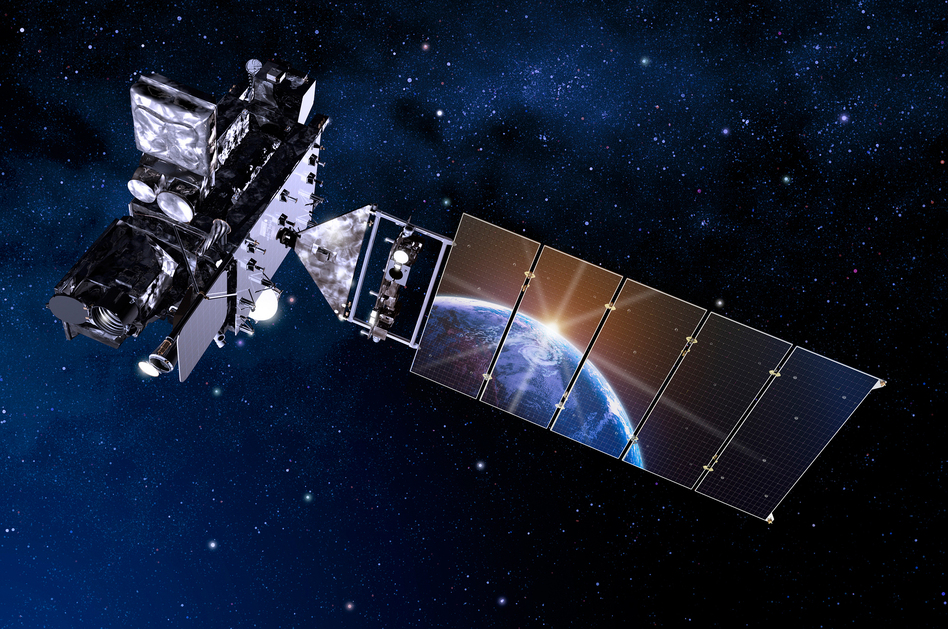An artist's depiction of the new GOES-R satellite. (Lockheed Martin/Flickr)